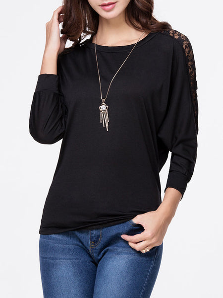 Round Neck Hollow Out Plain Batwing Long Sleeve T-Shirt - Bychicstyle.com