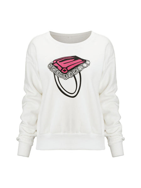 Trendy Round Neck Diamond Ring Printed Sweatshirt - Bychicstyle.com