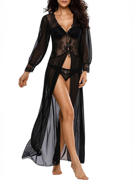 Deep V-Neck  Lace-Up See-Through  Lace Sexy Nightgown - Bychicstyle.com