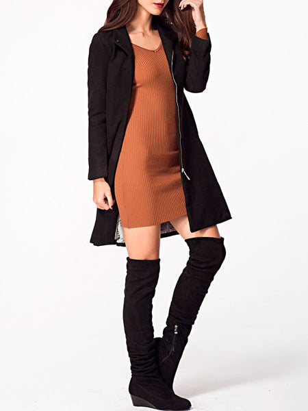 Turn Down Collar Zips Plain Woolen Coat - Bychicstyle.com