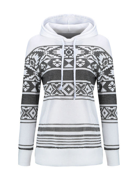 Casual Designed Drawstring Printed Striped Hoodie