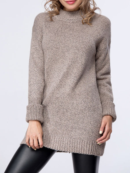 Casual Basic Loose Fitting Crew Neck Sweater