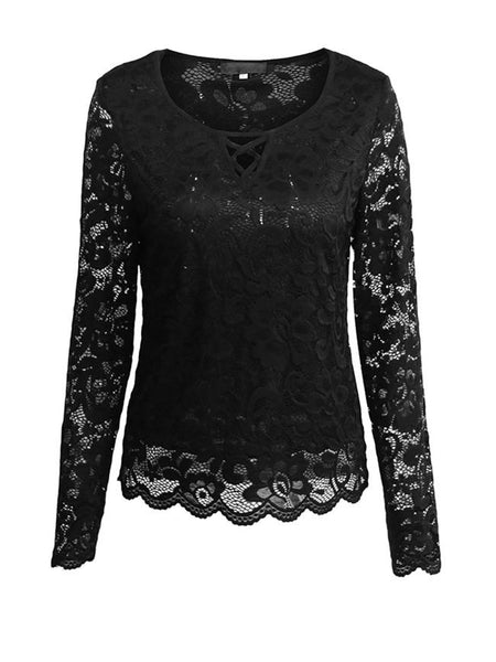 Round Neck Hollow Out Plain Lace Blouse - Bychicstyle.com