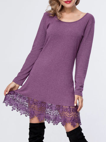 Charming Decorative Lace Plain Round Neck Shift Dress - Bychicstyle.com
