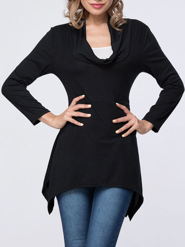 Casual Asymmetric Hem Cowl Neck Plain Long Sleeve T-Shirt