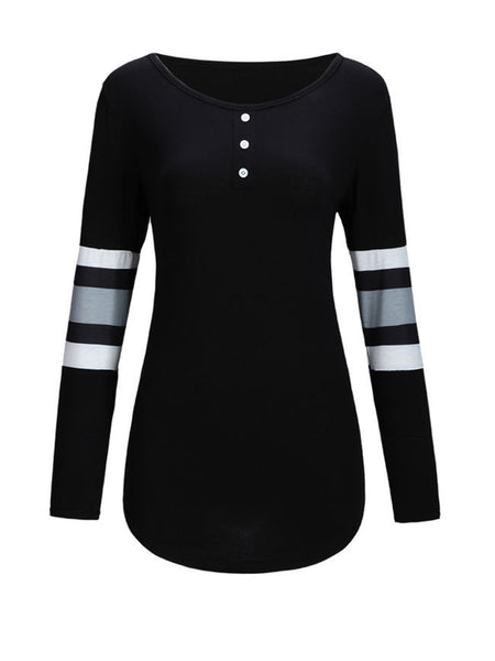 Casual Designed Round Neck Color Block Striped Long Sleeve T-Shirt