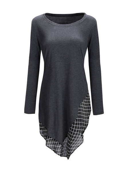 Casual Round Neck Asymmetric Hem Patchwork Plaid Long Sleeve T-Shirt