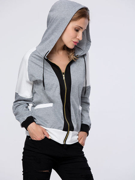 Trendy Patch Pocket Color Block Hoodie - Bychicstyle.com