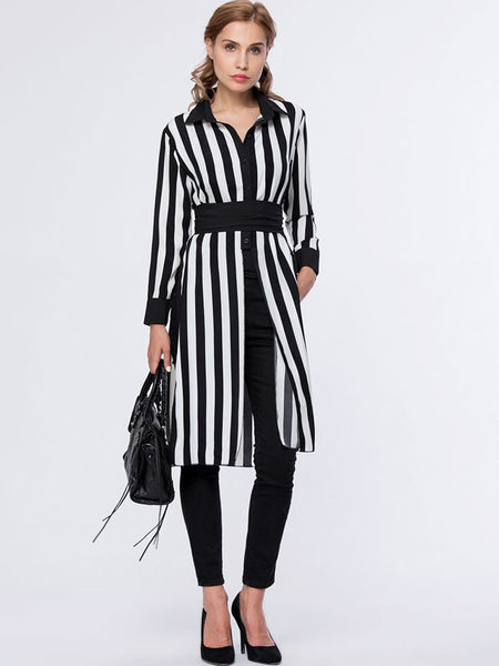 Vertical Striped Turn Down Collar Side-Vented Blouse - Bychicstyle.com