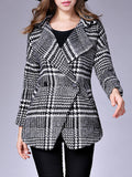 ByChicStyle Classical Lapel Side-Vented Houndstooth Woolen Coat - Bychicstyle.com