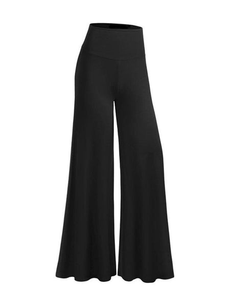Casual Plain Flared  High-Rise Casual Pants - Bychicstyle.com