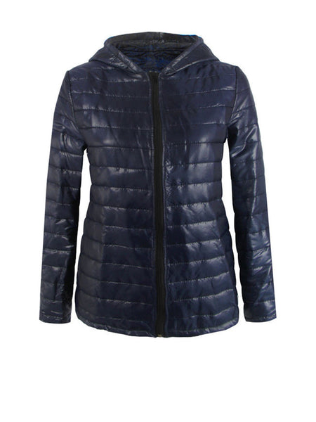 Streetstyle  Casual Basic Hooded Quilted Plain Padded Coat