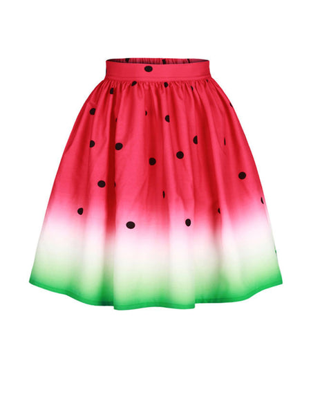 Casual Watermelon Printed Swing Midi Skirt