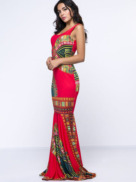 Scoop Neck Tribal Printed Awesome Maxi Dress - Bychicstyle.com