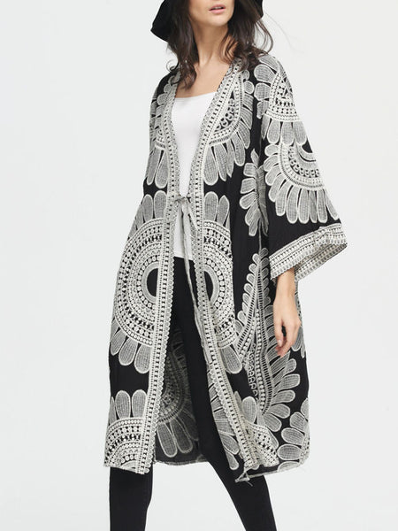 Collarless Tribal Printed Kimono Sleeve Cardigan - Bychicstyle.com