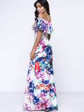ByChicStyle Off Shoulder Flounce Floral Fascinating Maxi Dress - Bychicstyle.com