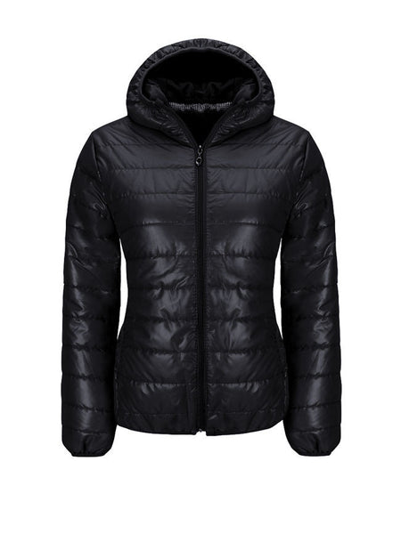 Casual Basic Hooded Pocket Quilted Plain Padded Coat