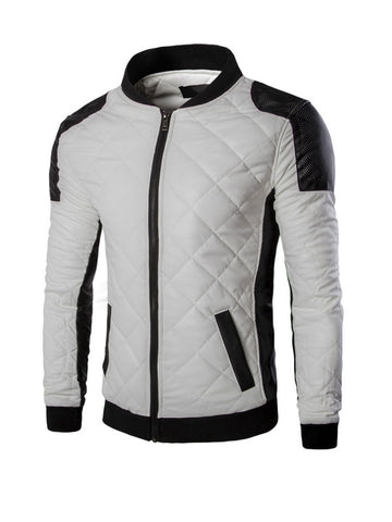 Men Modern Band Collar Quilted Plain Bomber Jacket - Bychicstyle.com
