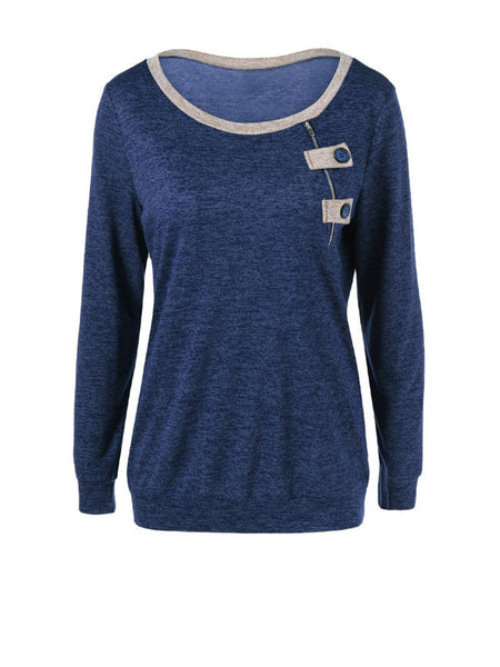 Casual Round Neck Contrast Trim Zips Sweatshirt - Bychicstyle.com