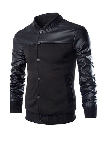 Men Band Collar Patchwork Zips Bomber Jacket - Bychicstyle.com