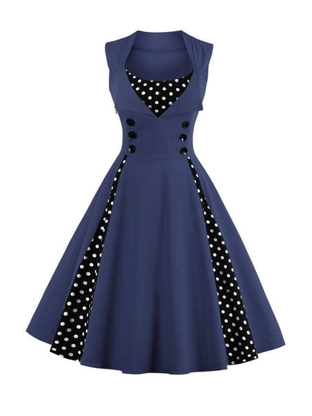 Casual Vintage Polka Dot Sweet Heart  Skater Dress