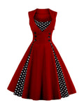 ByChicStyle Casual Vintage Polka Dot Sweet Heart  Skater Dress