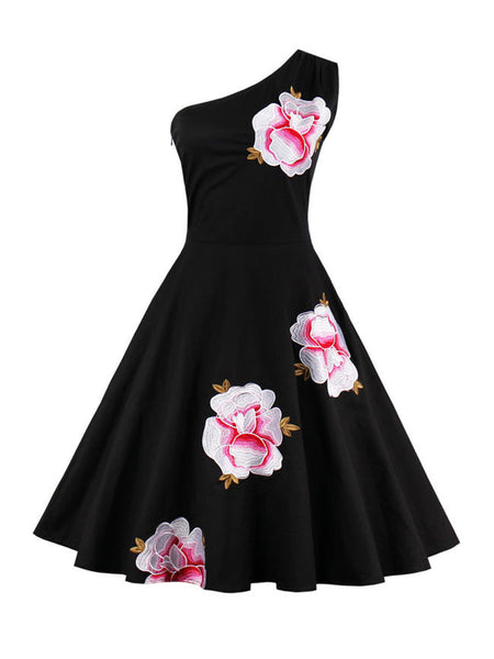 Floral Embroidery One Shoulder Skater Dress - Bychicstyle.com