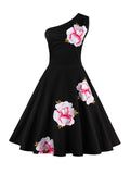 ByChicStyle Floral Embroidery One Shoulder Skater Dress - Bychicstyle.com