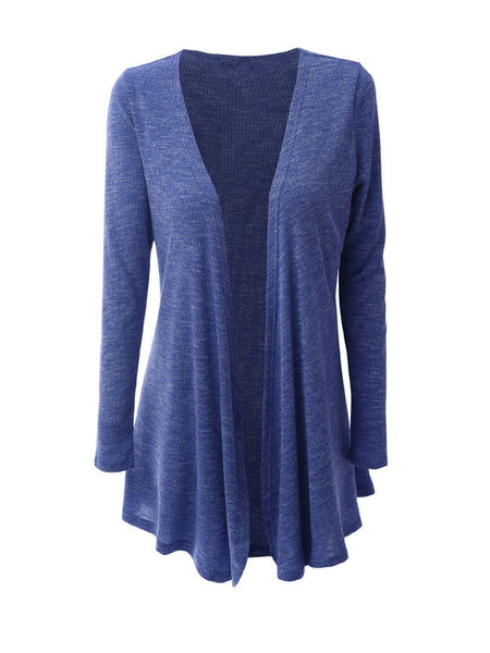 Casual Collarless Asymmetric Hem Cardigan - Bychicstyle.com