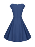 ByChicStyle Boat Neck Classical Plain Skater Dress - Bychicstyle.com