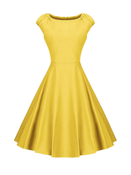 Boat Neck Classical Plain Skater Dress - Bychicstyle.com