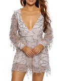ByChicStyle Glitter Hollow Out Deep V-Neck Romper - Bychicstyle.com