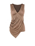 ByChicStyle Casual Pleated Asymmetric Hem Deep V-Neck Plain Sleeveless T-Shirt