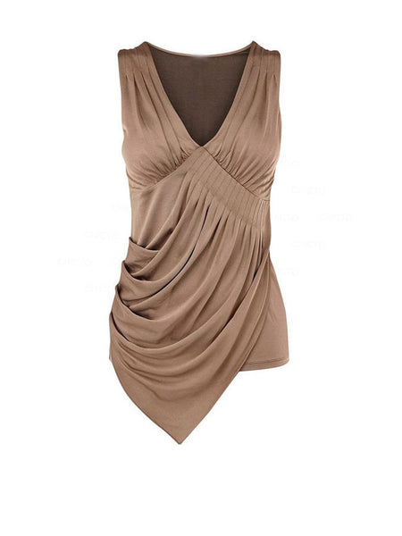 Casual Pleated Asymmetric Hem Deep V-Neck Plain Sleeveless T-Shirt