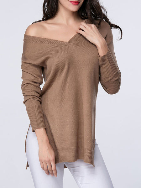 Casual V-Neck Side-Vented Plain Sweater