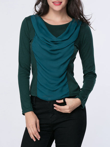 Casual Pleated Stylish Round Neck Blouse