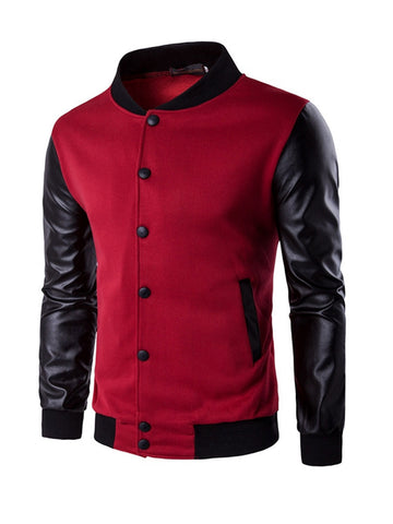Men Band Collar Color Bomber Jacket - Bychicstyle.com