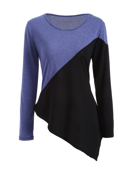 Color Block Asymmetric Hem Round Neck Long Sleeve T-Shirt - Bychicstyle.com