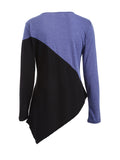 ByChicStyle Color Block Asymmetric Hem Round Neck Long Sleeve T-Shirt - Bychicstyle.com