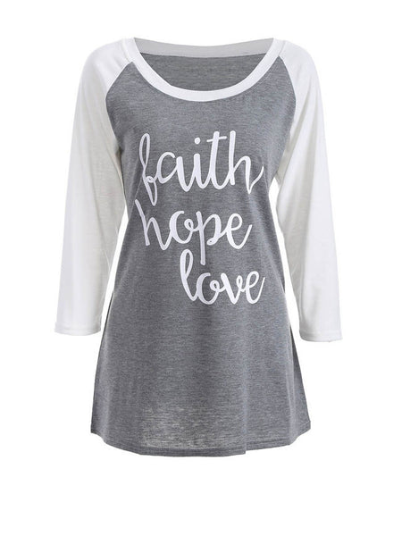 Letters Awesome Round Neck Raglan Sleeve T-Shirt - Bychicstyle.com