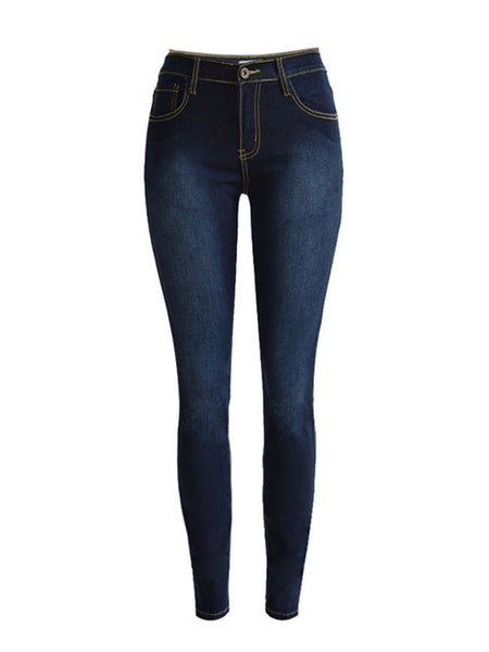 Casual Basic Light Wash Patch Pocket Slim-Leg Mid-Rise Jean