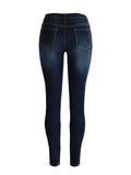 ByChicStyle Casual Basic Light Wash Patch Pocket Slim-Leg Mid-Rise Jean