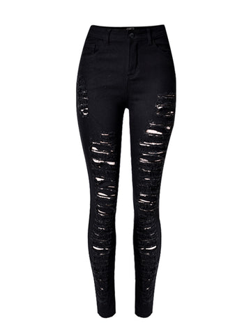 Broken Hole Ripped  Plain  Slim-Leg  High-Rise Jean - Bychicstyle.com