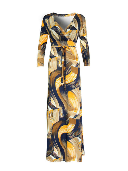 Bowknot Printed V-Neck Maxi Dress - Bychicstyle.com