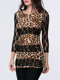 ByChicStyle Hot Patchwork Hollow Out Leopard Long Sleeve T-Shirt - Bychicstyle.com