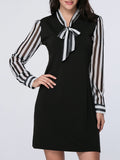 ByChicStyle Tie Collar Awesome Vertical Striped Shift Dress - Bychicstyle.com