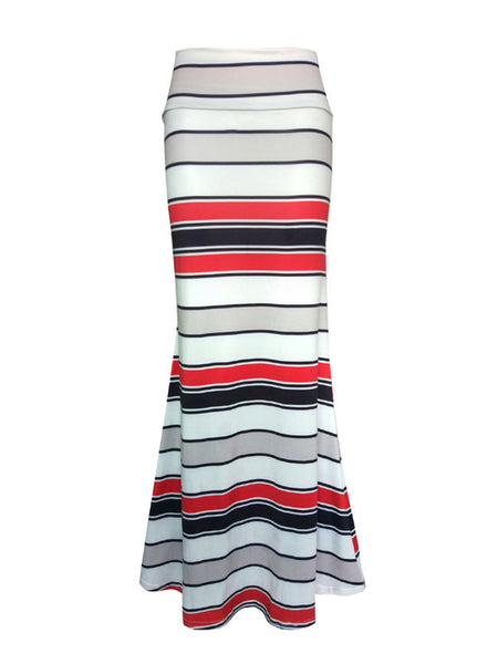 Simple Striped Mermaid Maxi Skirt - Bychicstyle.com