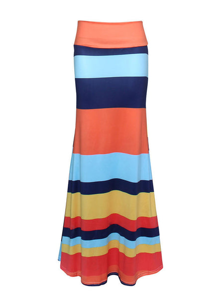 Color Block Striped Mermaid Maxi Skirt - Bychicstyle.com