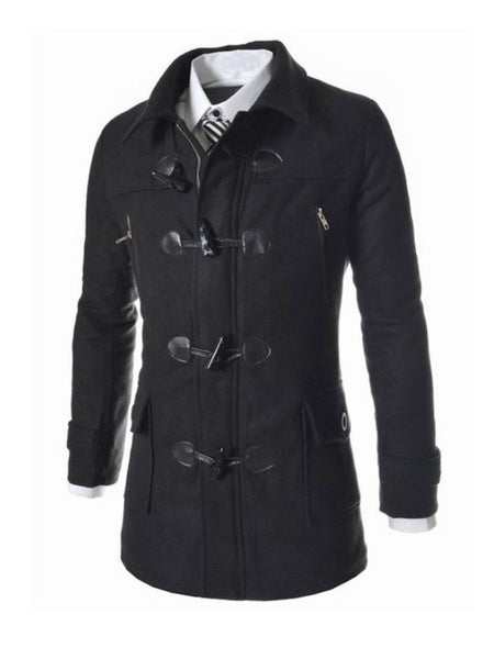 Men Pockets Hooded Blended Plain Coat - Bychicstyle.com