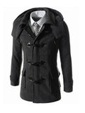 ByChicStyle Men Pockets Hooded Blended Plain Coat - Bychicstyle.com